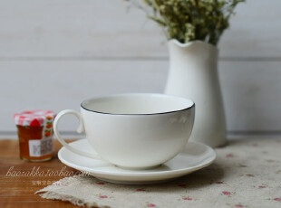 Bao ZAKKA 新骨瓷 纯白 大圆形 细柄 咖啡杯碟,咖啡器具,