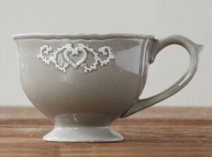 北欧表情/美克美家法式乡村浮雕陶瓷餐具/森女爱心咖啡杯奶茶杯,咖啡器具,