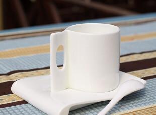 唐商 优级纯白骨质瓷 咖啡杯 带碟 咖啡勺 卡布奇诺咖啡杯,咖啡器具,