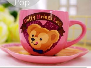 超萌DUFFY熊 正版迪斯尼咖啡杯套装 配碟 卡通个性可爱外贸陶瓷,咖啡器具,
