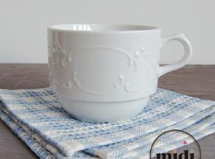 德国原单 经典浮雕白瓷 欧式茶杯 奶杯 小咖啡杯,咖啡器具,