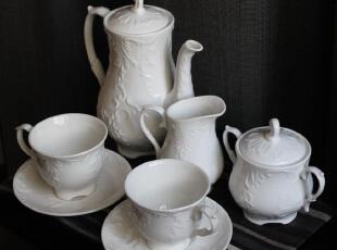 格调英伦 古典花纹浮雕 茶具 咖啡杯套装 外贸豪华陶瓷礼品 婚庆,咖啡器具,