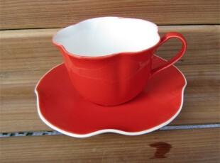 出口外贸瓷器餐具欧美名品[红花]新骨瓷咖啡杯/茶杯/碟子2件套装,咖啡器具,