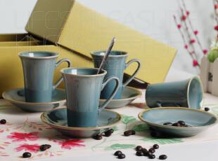Kingda家居铺子 欧式风格 宜家简约 影青 陶瓷咖啡杯 碟 套装礼盒,咖啡器具,