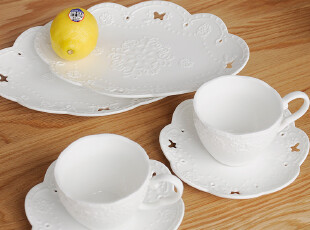 日本森也纳原单高温陶瓷浮雕咖啡杯碟水果盘组合-六件套 高品质,咖啡器具,