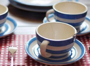 【欧美原单】CORNISHWARE 条纹蓝咖啡杯碟 套装 牛奶 外贸 咖啡杯,咖啡器具,