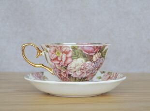 礼盒装-韩国订单 高档骨瓷冰岛玫瑰描金咖啡杯碟 花茶杯碟组合,咖啡器具,