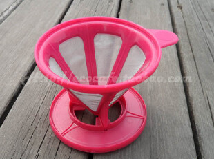 Tiamo极细金属过滤网 咖啡过滤器 滤杯 咖啡壶 免滤纸 桃红,咖啡器具,
