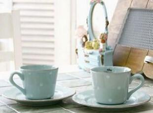 韩国正品代购 浅蓝圆点浪漫咖啡杯*垫套装/陶瓷杯 蓝色,咖啡器具,