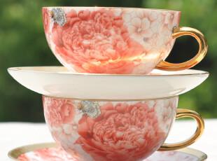 咖啡杯 4件套装 24K描金奢华顶级骨瓷咖啡杯碟  -蝶恋,咖啡器具,