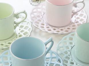 创意咖啡杯碟 宝石瓷 冰淇淋四色组套装 典雅欧风,咖啡器具,