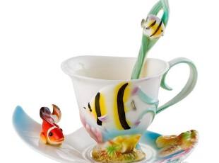 七夕情人节礼物 珐琅瓷海洋咖啡杯/陶瓷/骨瓷杯/礼品创意情侣杯子,咖啡器具,