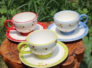 【A grass】外贸陶瓷手绘新鲜.樱桃中号咖啡杯--嫩绿色,咖啡器具,
