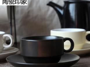咖啡杯黑色亚光带碟欧式套装英式下午茶杯子美式咖啡意式灰色米色,咖啡器具,