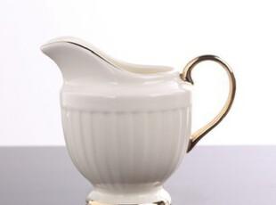 包邮!简约陶瓷欧式奶壶 美克美家馨赏家 高档竖条镀金陶瓷奶壶,咖啡器具,