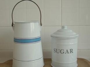 日单尾货 法式复古白色搪瓷糖罐 SUGAR,咖啡器具,