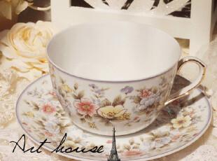 出口欧美紫色碎花陶瓷英式下午茶杯套/咖啡杯碟/奶杯/欧式红茶杯,咖啡器具,
