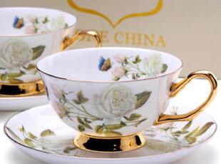 [玲珑堂] 外贸精品 法式描金彩绘骨瓷咖啡杯礼盒装(2杯2碟),咖啡器具,