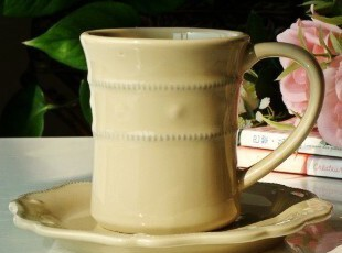 美克美家美式乡村浮雕陶瓷餐具洛蒂娅咖啡杯碟套装牛奶杯,咖啡器具,