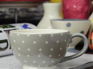 田园牧歌陶瓷 英伦灰色碎花 大咖啡杯 水杯杯子,咖啡器具,