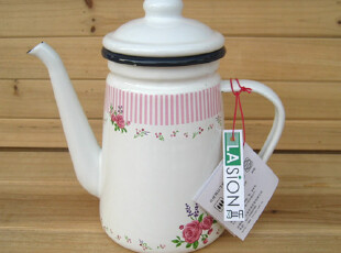 LASION 新品 正品 英伦玫瑰 1.1L搪瓷壶 咖啡壶 油壶 冷水壶,咖啡器具,