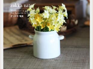 zakka日本杂货 迷你细白瓷双耳奶罐款花器 拍摄道具 花器套装,咖啡器具,