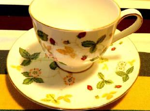 亿客 草莓园单品陶瓷咖啡杯 套装 杯碟 欧式 花茶杯 杯子 150ml,咖啡器具,