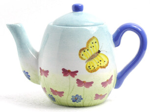 外贸陶瓷手绘餐具 香草花园 蝴蝶 茶壶 咖啡壶 出口原包装,咖啡器具,