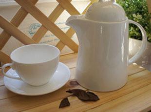 WANG ZAKKA 纯白陶瓷咖啡壶+咖啡杯组合 套,咖啡器具,