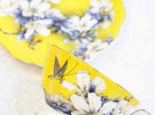 B黄色骨瓷咖啡杯碟套装情侣杯茶杯英式下午茶茶具礼盒装结婚礼物,咖啡器具,