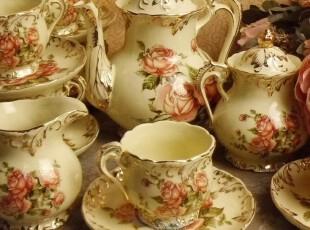 「宫廷混搭风格] 欧式象牙陶瓷描金玫瑰15头咖啡具茶具装饰品,咖啡器具,