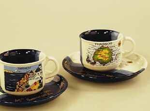 【彩虹家居】欧洲尾单希腊手绘风光espresso浓缩咖啡杯碟小号,咖啡器具,