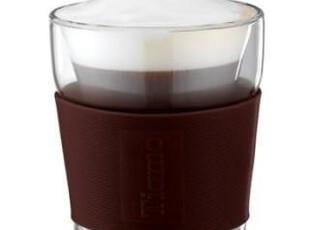 Tiamo V型雙層玻璃杯附彩色矽膠杯套240ml 隨手杯 情人节礼物,咖啡器具,