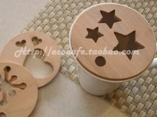 亿客咖啡 出口日本 木质咖啡印花模 拉花模具 卡布用 3枚 几何组,咖啡器具,