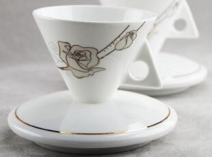 出口欧式 新宫廷骨瓷 意式 特浓缩咖啡杯碟 Espresso Rosa Bianca,咖啡器具,