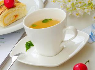 店庆特惠! 欧式经典陶瓷茶具 雅致圆口方底咖啡杯 红茶杯 碟套装,咖啡器具,