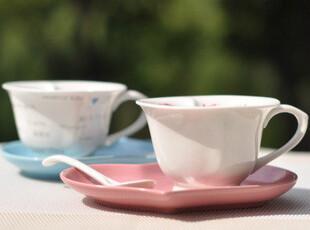 咖啡杯碟 套装 创意杯子 陶瓷杯对杯 越深越爱 情侣杯子 礼品杯,咖啡器具,