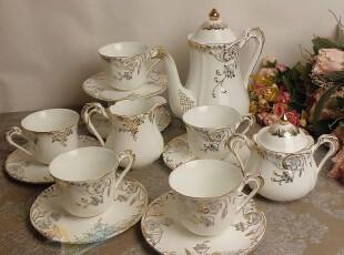 「宫廷混搭风格] 意式骨瓷描金玫瑰15头咖啡具 茶具,咖啡器具,