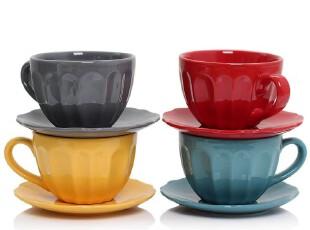 绘生活 陶瓷杯子 咖啡杯 配碟 红黄蓝灰四色可选 普罗旺斯1404X,咖啡器具,