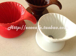 正品tiamo 弯形手柄陶瓷圆锥咖啡过滤器 滤杯 滴漏咖啡壶 2杯,咖啡器具,