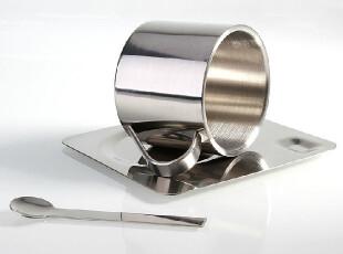 欧式双层不锈钢创意咖啡杯子 套装 隔热马克杯 杯碟勺子 情侣杯,咖啡器具,