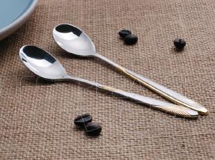 特惠【Kingda家居铺子】 出口不锈钢餐具 甜品勺 咖啡勺 金色天鹅,咖啡器具,