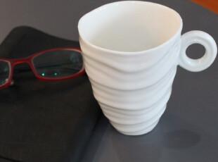 水波纹螺纹陶瓷咖啡杯白瓷简约风格水杯 muji清新圆圈手柄办公杯,咖啡器具,
