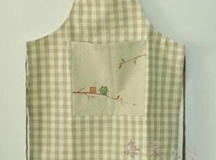 本原 亚麻格子(快乐猫头鹰) 围裙 厨房 工作裙 居家 田园,围裙,
