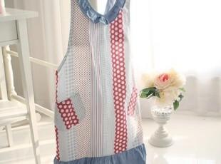 【韩国进口家居】A721 清爽牛仔蓝色点点条纹围裙,围裙,