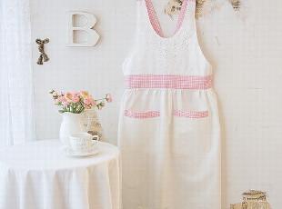 【韩国进口家居】甜美清爽粉色主妇最爱花朵布艺围裙 n0236,围裙,