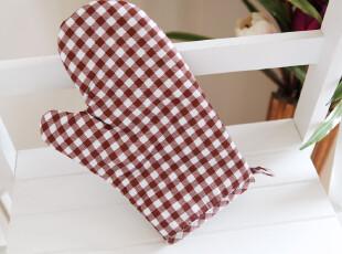 9601*朱砂红格子系列*布艺蝴蝶结 微波炉手套 烤箱手套 隔热手套,围裙,