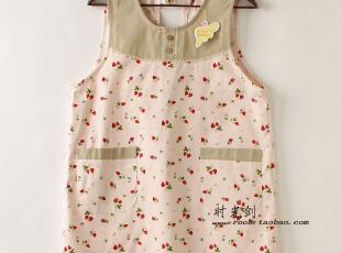超值特惠日单田园派后系带木扣草莓狗牙花边有兜甜美围裙,围裙,