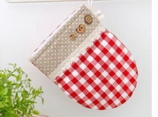 韩国进口代购 厨房手套 红色格子微波炉隔热手套/厨房防烫手套,围裙,