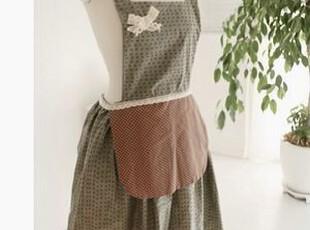 韩国代购  可爱小点点双层工作服围裙/漂亮主妇厨房工作服 绿色,围裙,